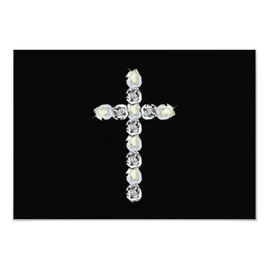 """Cruz de la plata y de los rosas blancos invitación 3.5"""" x 5"""""""