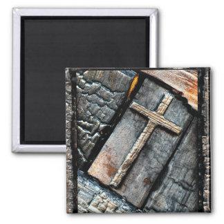 Cruz de la protección imán cuadrado