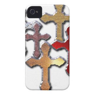 cruz de la textura de la plata del estampado de funda para iPhone 4 de Case-Mate