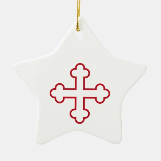 cruz de los apóstoles del cuadrado rojo o cruz adorno de cerámica en forma de estrella