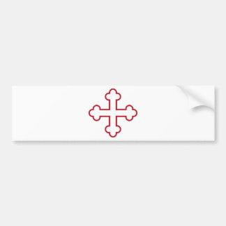 cruz de los apóstoles del cuadrado rojo o cruz flo pegatina para auto