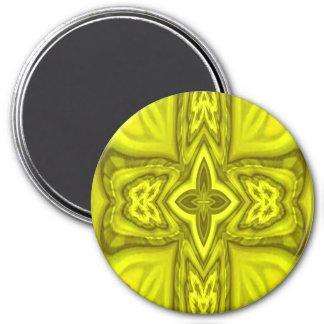 Cruz de madera abstracta amarilla imán redondo 7 cm