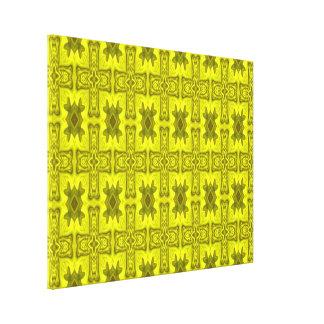 Cruz de madera abstracta amarilla impresión en lienzo estirada