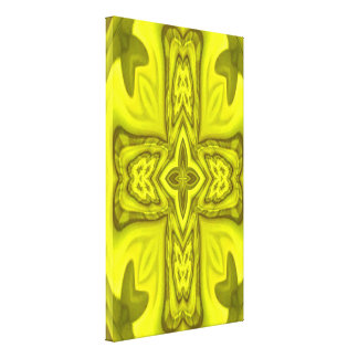 Cruz de madera abstracta amarilla lona estirada galerías