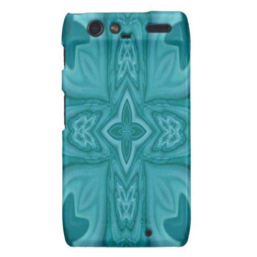 Cruz de madera abstracta azul droid RAZR fundas