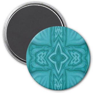 Cruz de madera abstracta azul imán redondo 7 cm