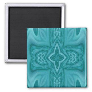 Cruz de madera abstracta azul imán cuadrado