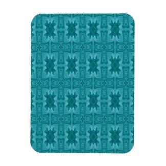 Cruz de madera abstracta azul imán foto rectangular