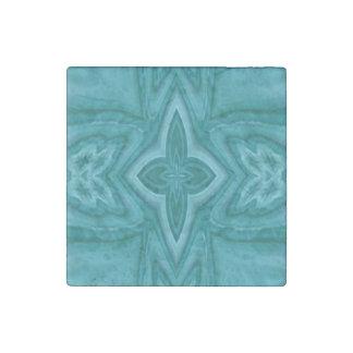 Cruz de madera abstracta azul imán de piedra