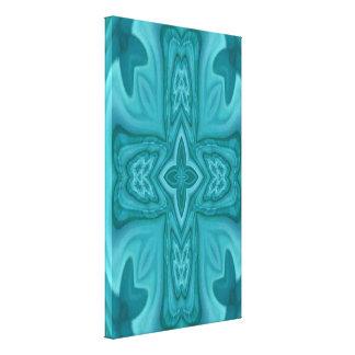 Cruz de madera abstracta azul lona estirada galerias