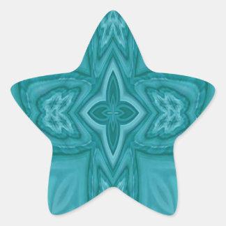 Cruz de madera abstracta azul pegatina en forma de estrella