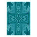 Cruz de madera abstracta azul póster