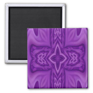 Cruz de madera abstracta púrpura imán cuadrado