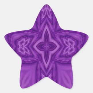 Cruz de madera abstracta púrpura pegatina en forma de estrella