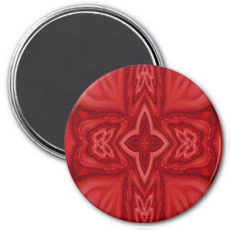 Cruz de madera abstracta roja imán redondo 7 cm
