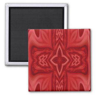Cruz de madera abstracta roja imán cuadrado