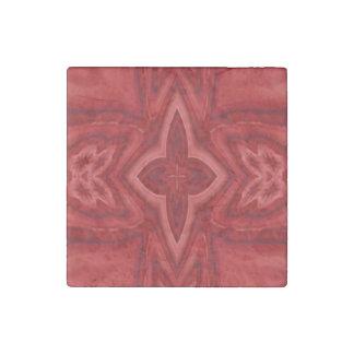 Cruz de madera abstracta roja imán de piedra