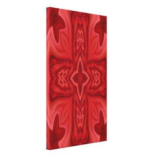 Cruz de madera abstracta roja impresión en lona estirada