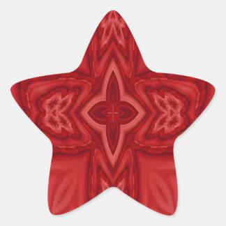Cruz de madera abstracta roja pegatina en forma de estrella
