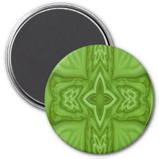 Cruz de madera abstracta verde imán redondo 7 cm