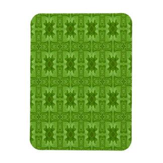 Cruz de madera abstracta verde imanes rectangulares