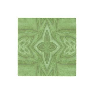 Cruz de madera abstracta verde imán de piedra