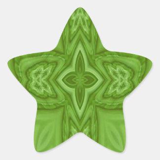Cruz de madera abstracta verde pegatina en forma de estrella