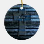 Cruz de madera azul adorno de reyes