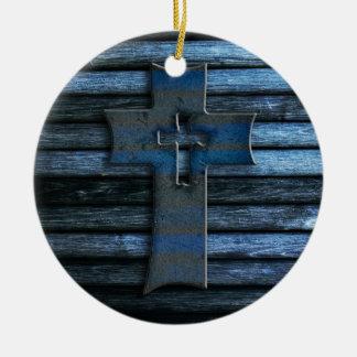 Cruz de madera azul adorno navideño redondo de cerámica