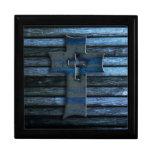 Cruz de madera azul caja de joyas