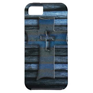 Cruz de madera azul iPhone 5 Case-Mate protectores