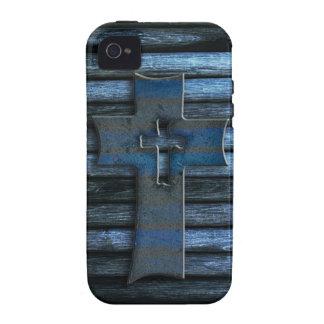 Cruz de madera azul vibe iPhone 4 carcasa