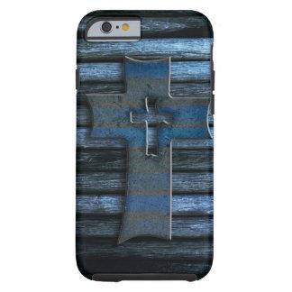 Cruz de madera azul funda de iPhone 6 tough