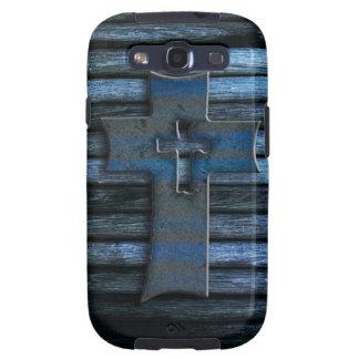 Cruz de madera azul galaxy SIII cobertura