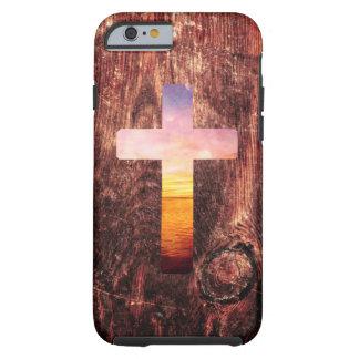 Cruz de madera de la puesta del sol funda de iPhone 6 tough