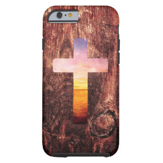 Cruz de madera de la puesta del sol funda para iPhone 6 tough