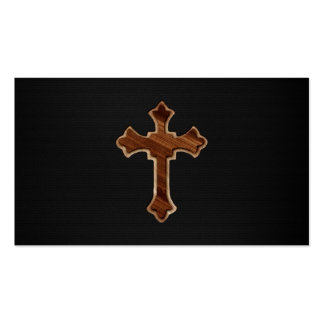 Cruz de madera en la impresión oscura de la imagen tarjetas de visita
