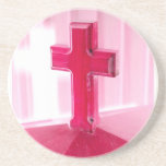 Cruz de madera, iglesia roja de la fotografía de l posavasos diseño