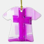 Cruz de madera, versión púrpura, iglesia de la fot ornamento de reyes magos