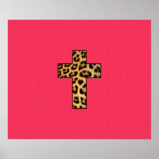 Cruz de moda de la impresión del guepardo de la póster