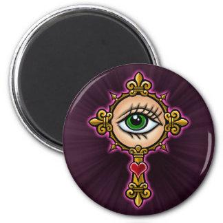 Cruz de observación del ojo diseñar imanes de nevera