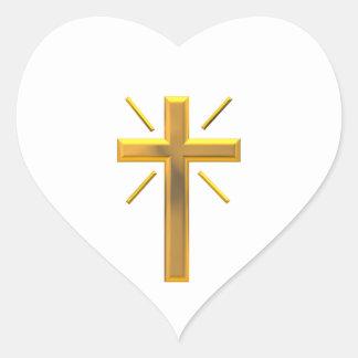 Cruz de oro 4 pegatina en forma de corazón