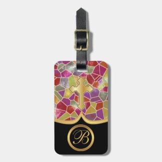 Cruz de oro abstracta del vidrio el | de la mancha etiqueta para equipaje