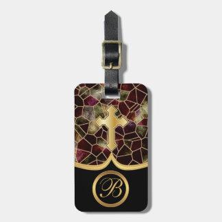 Cruz de oro abstracta del vidrio el | de la mancha etiqueta para maleta