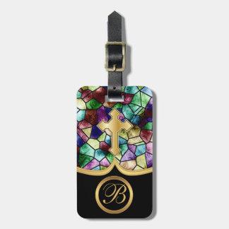 Cruz de oro abstracta del vidrio el | de la mancha etiquetas maletas