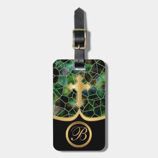 Cruz de oro abstracta del vidrio el | de la mancha etiquetas para equipaje