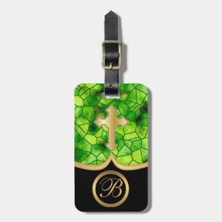 Cruz de oro abstracta del vidrio el | de la mancha etiquetas para maletas