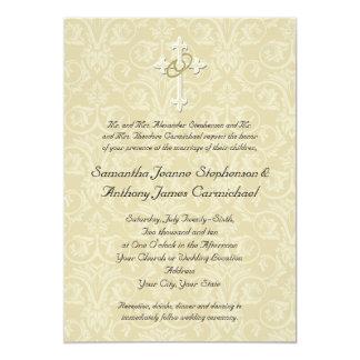 """Cruz de oro de los anillos, invitaciones invitación 5"""" x 7"""""""