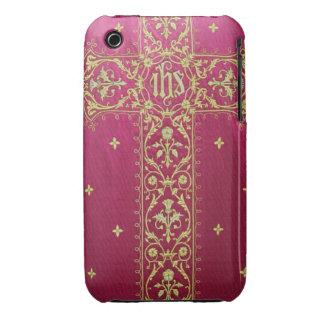 Cruz de oro en la caja roja del iPhone 3 de la cas Case-Mate iPhone 3 Protector