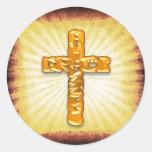 Cruz de oro pegatina redonda
